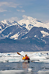 Alaska, Prince William Sound, Sea kayaker, Columbia Bay, Columbia Glacier, Icebergs, Brash Ice, USA, David Fox, released,.