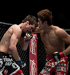 Dong Hyun Kim of South Korea and John Hathaway of England fight on their Welterweight Bout 5 Rounds during the UFC Fight Night at the Cotai Arena on 01 March 2014 in Macau, China. Photo by Victor Fraile / Power Sport Images