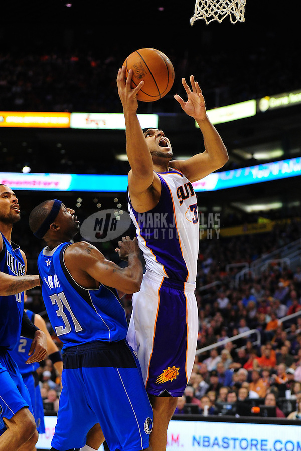 Mar. 27, 2011; Phoenix, AZ, USA; Phoenix Suns forward Jared Dudley against the Dallas Mavericks at the US Airways Center. The Maverick defeated the Suns 91-83. Mandatory Credit: Mark J. Rebilas-