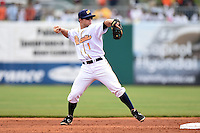 Montgomery Biscuits second baseman Ryan Brett (1) during a game against the Mississippi Braves on April 22, 2014 at Riverwalk Stadium in Montgomery, Alabama.  Mississippi defeated Montgomery 6-2.  (Mike Janes/Four Seam Images)