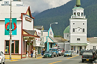 Downtown Sitka, Fishing community on Baranof Island in Southeast, Alaska