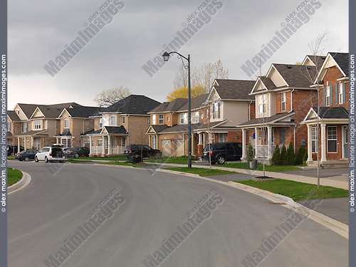 New homes along a newly built street in Milton, Ontario, Canada.