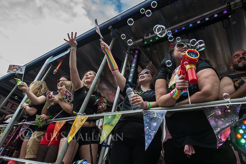 Gay Pride parade 2016. Held in central London 25-6-16
