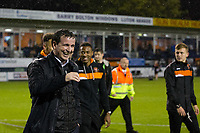 Blackpool manager Gary Bowyer celebrates after the match<br /> <br /> Photographer Craig Mercer/CameraSport<br /> <br /> The EFL Sky Bet League Two Play-Off Semi Final Second Leg - Luton Town v Blackpool - Thursday 18th May 2017 - Kenilworth Road - Luton<br /> <br /> World Copyright &copy; 2017 CameraSport. All rights reserved. 43 Linden Ave. Countesthorpe. Leicester. England. LE8 5PG - Tel: +44 (0) 116 277 4147 - admin@camerasport.com - www.camerasport.com