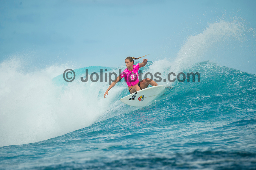 Namotu Island Resort, Namotu, Fiji. (Tuesday May 27, 2014) Bianca Buitendag (ZAF) –  The Fiji Women's Pro, Stop No. 5 of 10 on the 2014  Women's World Championship Tour (WCT) was called on today  at Cloudbreak in a ring 4'-6' south swell.  The South East Trades, which are side offshore at Cloudbreak increased with the growing swell and made conditions difficult by mid afternoon. All of Rounds 1 & 2 were completed with Malia Manual (HAW) registering the day's highest score with powerful forehand surfing. The event has attracted the world's best female surfers to the world-class waves of Cloudbreak and Restaurants for the recommencement of this season's battle for the world surfing crown. Photo: joliphotos.com