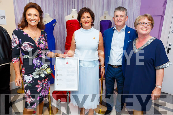 Attending the launch of Gowns of Glory Rose of Tralee dresses through the years in the Kerry County Museum, Launched by Celia Holman Lee on Friday.   <br /> L to r: Celia Holman Lee, Una and Anthony O'Gara and Helen O'Carroll.