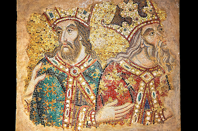 14th century mosaic fragments  of the Magi (Kings) meeting King Herod from the West wall of the ante baptistry.  Basilica San Marco ( St Mark's Basilica ) Venice, Italy