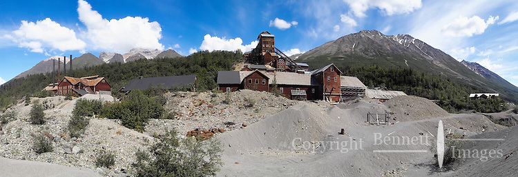 Panoramic view of the major buildings at the Kennicott Mine. The mill dominates the photo right of center, and the power plant is at the far left.