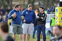 Bath first team coaches Toby Booth, Neal Hatley and Mike Ford have a word during the pre-match warm-up. Aviva Premiership match, between Bath Rugby and London Irish on February 16, 2013 at the Recreation Ground in Bath, England. Photo by: Patrick Khachfe / Onside Images