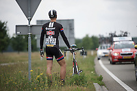 Marcel Kittel (DEU/Giant-Alpecin) by the side of the road, waiting for the teamcar to help him out<br /> <br /> stage 3: Buchten-Buchten (190km)<br /> 29th Ster ZLM Tour 2015
