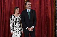 MADRID, SPAIN - APRIL12: Queen Letizia of Spain, King Felipe VI of Spain Attend a lunch with Mohammed Bin Salman Bin Abdulaziz Al-Saud, Crown Prince of the Kingdom of Saudi Arabia on April 12, 2018 in Madrid, Spain. <br /> ** NOT FOR SALE IN SPAIN**<br /> CAP/MPI/JOL<br /> &copy;JOL/MPI/Capital Pictures