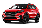 Stock pictures of low aggressive front three quarter view of a 2019 Hyundai Tucson N-Line 5 Door SUV