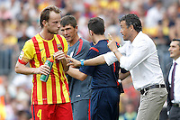 FC Barcellona's coach Luis Enrique Martinez with his player Ivan Rakitic during La Liga match.September 13,2014. (ALTERPHOTOS/Acero) <br /> Football Calcio 2014/2015<br /> La Liga Spagna<br /> Foto Alterphotos / Insidefoto