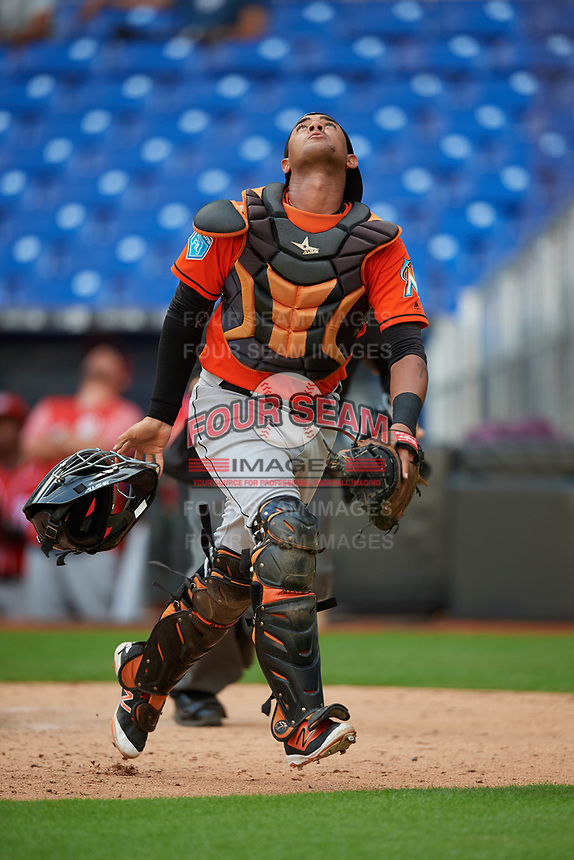 Miami Marlins catcher Luis Arcaya (83) tracks a pop up during a Florida Instructional League game against the Washington Nationals on September 26, 2018 at the Marlins Park in Miami, Florida.  (Mike Janes/Four Seam Images)