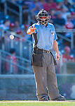 28 August 2016: MLB Umpire Mike Muchlinski works home plate during a game between the Colorado Rockies and the Washington Nationals at Nationals Park in Washington, DC. The Rockies defeated the Nationals 5-3 to take the rubber match of their 3-game series. Mandatory Credit: Ed Wolfstein Photo *** RAW (NEF) Image File Available ***