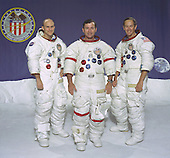 Houston, TX - January 12, 1972 -- The prime of the Apollo 16 lunar landing mission. From left to right: Thomas K. Mattingly II, Command Module pilot; John W. Young, Commander; and Charles M. Duke Jr., Lunar Module pilot..Credit: NASA via CNP