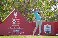 Victor Perez (FRA) on the 8th tee during Round 1 of the Abu Dhabi HSBC Championship 2020 at the Abu Dhabi Golf Club, Abu Dhabi, United Arab Emirates. 16/01/2020<br /> Picture: Golffile | Thos Caffrey<br /> <br /> <br /> All photo usage must carry mandatory copyright credit (© Golffile | Thos Caffrey)