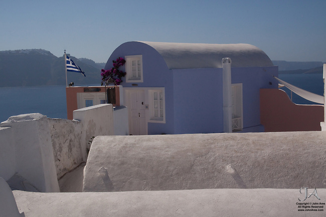 Pastel buildings in Oia