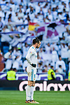 Gareth Bale of Real Madrid reacts as Real Madrid's fans wave flags to show their support to the team during the La Liga 2017-18 match between Real Madrid and RC Deportivo La Coruna at Santiago Bernabeu Stadium on January 21 2018 in Madrid, Spain. Photo by Diego Gonzalez / Power Sport Images