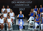 DES MOINES, IA - AUGUST 17: Team Europe's Captain Annika Sorenstam addresses the crowd during the opening ceremony at the 2017 Solheim Cup in Des Moines, IA. (Photo by Dave Eggen/Inertia)