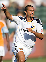 LA Galaxy forward Jovan Kirovski (9) begins to celebrate after scoring the first goal of the match. The LA Galaxy defeated the Houston Dynamo 4-1 at Home Depot Center stadium in Carson, California on Saturday evening June 5, 2010..