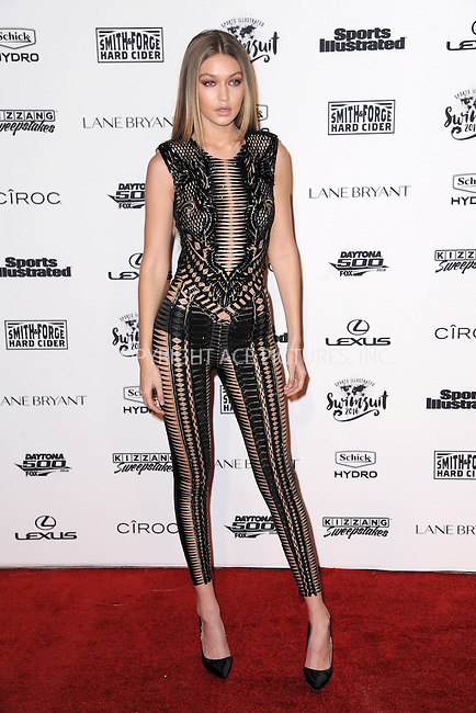 WWW.ACEPIXS.COM<br /> February 16, 2016 New York City<br /> <br /> Gigi Hadid attending the 2016 Sports Illustrated Swimsuit Launch Celebration at Brookfield Place on February 16, 2016 in New York City.<br /> <br /> Credit: Kristin Callahan/ACE Pictures<br /> Tel: (646) 769 0430<br /> e-mail: info@acepixs.com<br /> web: http://www.acepixs.com