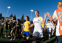 23 July 2009:  Aly Wagner of the Los Angeles Sol slaps high fives with the fans before the game against FC Gold Pride at Buck Shaw Stadium in Santa Clara, California.   FC Gold Pride tied Los Angeles Sol, 0-0.