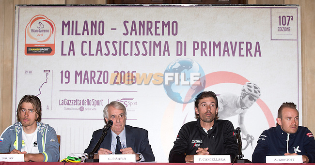 L-R World Champion Peter Sagan (SVK) Tinkoff,  Milan's Mayor Giuliano Pisapia, Fabian Cancellara (SUI) Trek Segafredo and Alexander Kristoff (NOR) Team Katusha during the press conference for the Milano-San Remo cycling race at Palazzo Marino in Milan, 18 March 2016.<br /> Picture: ANSA/CLAUDIO PERI | Newsfile<br /> <br /> <br /> All photos usage must carry mandatory copyright credit (© Newsfile | Claudio Peri)