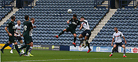 Newcastle United's Fabian Schar heads clear from Preston North End's Sean Maguire<br /> <br /> Photographer Stephen White/CameraSport<br /> <br /> Football Pre-Season Friendly - Preston North End v Newcastle United - Saturday July 27th 2019 - Deepdale Stadium - Preston<br /> <br /> World Copyright © 2019 CameraSport. All rights reserved. 43 Linden Ave. Countesthorpe. Leicester. England. LE8 5PG - Tel: +44 (0) 116 277 4147 - admin@camerasport.com - www.camerasport.com
