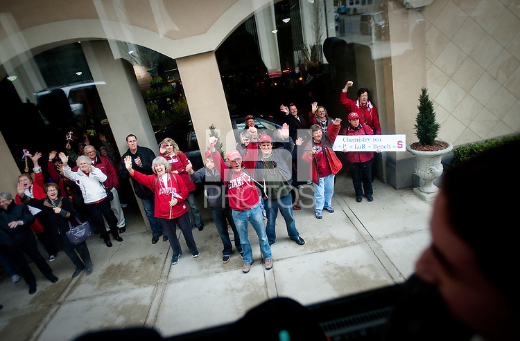 SPOKANE, WA - MARCH 28, 2011: Stanford Women's Basketball vs Gonzaga, NCAA West Regional Finals pregame sendoff at the Davenport Hotel on March 28, 2011.