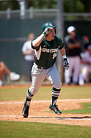 Michigan State Spartans left fielder Dan Durkin (9) during a game against the Illinois State Redbirds on March 8, 2016 at North Charlotte Regional Park in Port Charlotte, Florida.  Michigan State defeated Illinois State 15-0.  (Mike Janes/Four Seam Images)