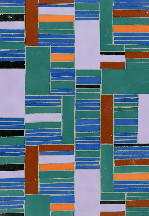 Kente, a hand-cut glass mosaic shown in Ruby, Sardonyx, Iolite, Tanzanite, and Obsidian, is part of the Erin Adams Collection for New Ravenna.