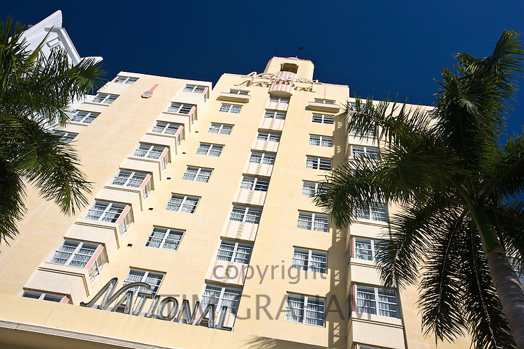 Art deco architecture at The National Hotel in Collins Avenue,  Miami South Beach, Florida USA