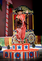 NWA Democrat-Gazette/ANDY SHUPE<br /> Ringmaster Kit Clowney sings Thursday, May 9, 2019, during a performance of Farnahan's Circus at The New School in Fayetteville. The school has been performing the circus for pre-kindergarten students for 27 years.