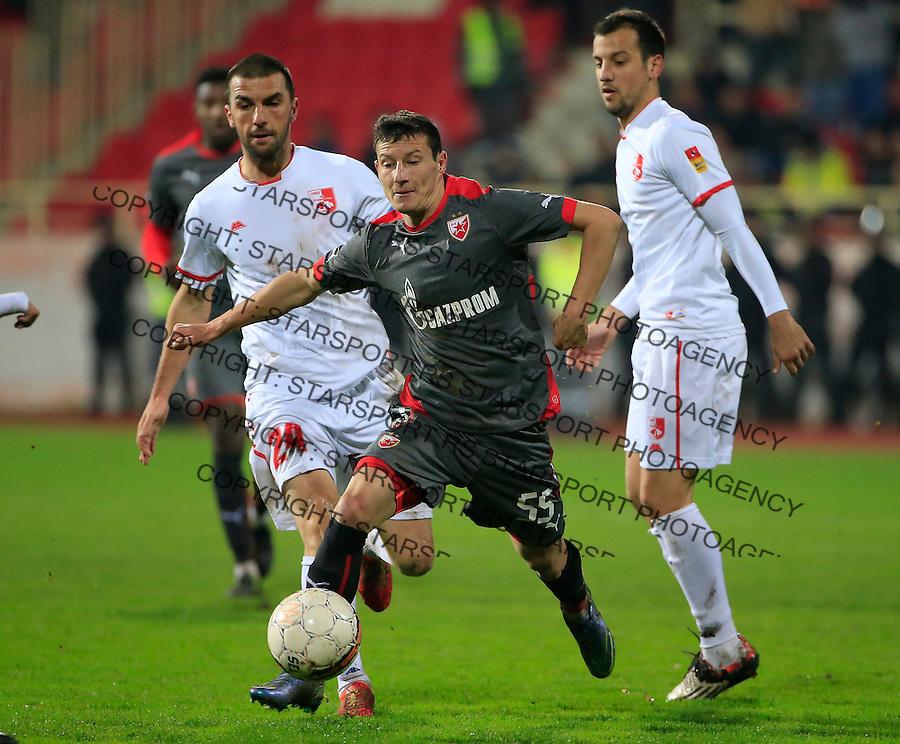 Fudbal Jelen Super League season 2015-2016<br /> Radnicki Nis v Crvena Zvezda<br /> Slavoljub Srnic (C) Aleksandar Jovanovic (L) and Petar Djurickovic (R)<br /> Nis, 22.11.2015.<br /> foto: Srdjan Stevanovic/Starsportphoto&copy;