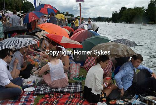 Henley on Thames UK. Picnic in the English summer raining.