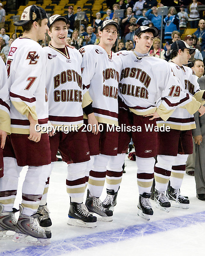 Carl Sneep (BC - 7), Patrick Wey (BC - 6), Brian Dumoulin (BC - 2), Chris Kreider (BC - 19), Matt Lombardi (BC - 24) - The Boston College Eagles defeated the University of Maine Black Bears 7-6 in overtime to win the Hockey East championship on Saturday, March 20, 2010, at TD Garden in Boston, Massachusetts.