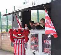 Lincoln City mascot Poacher the Imp at the mobile club shop<br /> <br /> Photographer Chris Vaughan/CameraSport<br /> <br /> The EFL Sky Bet League Two - Lincoln City v Tranmere Rovers - Monday 22nd April 2019 - Sincil Bank - Lincoln<br /> <br /> World Copyright © 2019 CameraSport. All rights reserved. 43 Linden Ave. Countesthorpe. Leicester. England. LE8 5PG - Tel: +44 (0) 116 277 4147 - admin@camerasport.com - www.camerasport.com