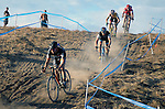 October 17, 2015 - Boulder, Colorado, U.S. - Men's elite cyclists begin a difficult downhill section during the U.S. Open of Cyclocross, Valmont Bike Park, Boulder, Colorado.