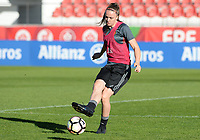 20171023 - PENAFIEL , PORTUGAL :  Belgian Tine De Caigny pictured during the matchday -1 training session of the Belgian national women's soccer team Red Flames prior to the game against the women's team of Portugal , on monday 23 October 2017 at Estádio Municipal 25 de Abril in Penafiel. The Red Flames are playing their third game in the Worldcup 2019 France qualification against Portugal. PHOTO SPORTPIX.BE | DAVID CATRY