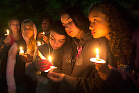 BURLINGTON, WA - SEPTEMBER 26: Tatum Sprouse (left), 17, Rainah Douglas, 16, and Joscelynn Evans, 16, all from Mount Vernon, Washington, participate in a candlelight vigil along Burlington Boulevard on September 26, 2016 in Burlington, Washington. Five people were killed by a gunman several nights ago at the Cascade Mall. One of those killed was a classmate of theirs at school. The suspect, Arcan Cetin, 20, a resident of Oak Harbor, Washington, was arraigned today. (Photo by Karen Ducey/Getty Images)