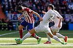Real Madrid´s James Rodriguez and Atletico de Madrid´s Koke during 2015/16 La Liga match between Real Madrid and Atletico de Madrid at Santiago Bernabeu stadium in Madrid, Spain. February 27, 2016. (ALTERPHOTOS/Victor Blanco)