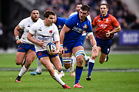 9th February 20020, Stade de France, Paris, France; 6-Nations international mens rugby union, France versus Italy;  Antoine Dupont ( France ) on the run after breaking a tackle