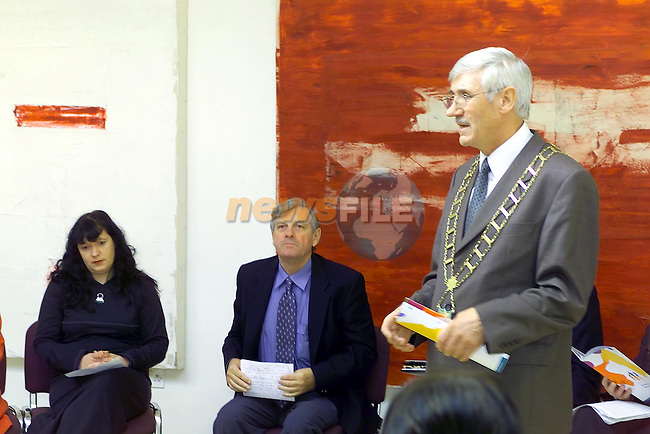 Mayor Jimmy Mulroy speaking the hte Launch of the Drogheda Youth Education Network in the Arts Centre..Picture Fran Caffrey Newsfile.