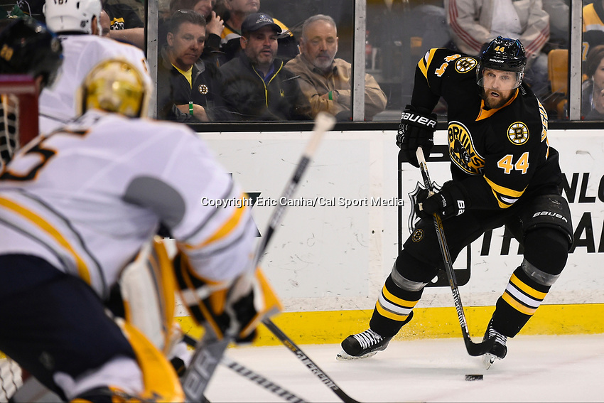 March 17, 2015 - Boston, Massachusetts, U.S. - Boston Bruins defenseman Dennis Seidenberg (44) looks to make a shot during the NHL match between the Buffalo Sabres and the Boston Bruins held at TD Garden in Boston Massachusetts. Buffalo defeated Boston 2-1 by shoot out. Eric Canha/CSM