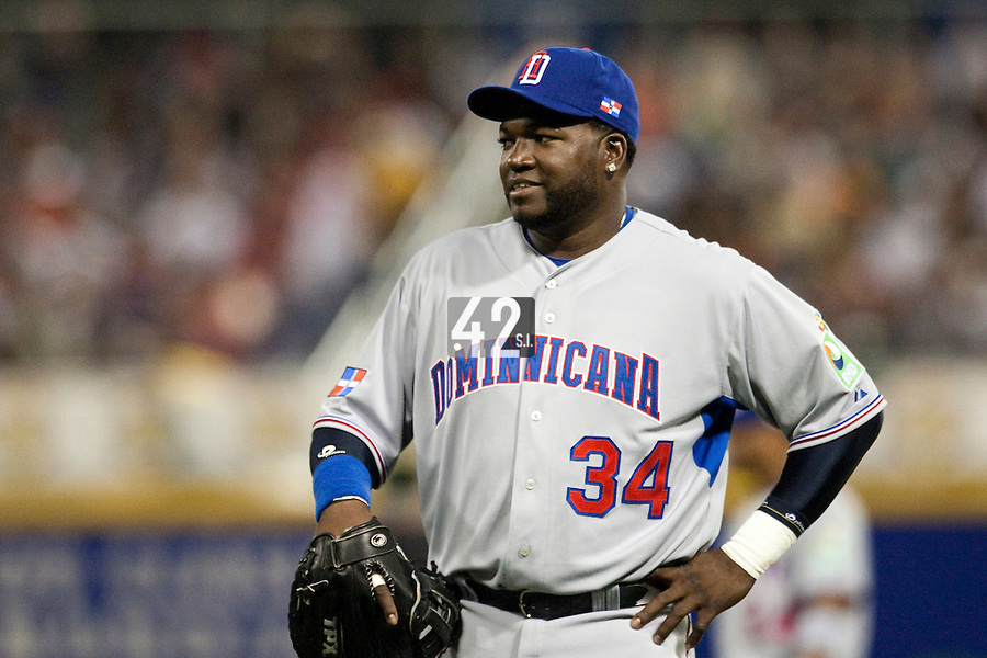 10 March 2009: #34 David Ortiz of the Dominican Republic smiles during the 2009 World Baseball Classic Pool D game 5 at Hiram Bithorn Stadium in San Juan, Puerto Rico. The Netherlands pulled off second upset to advance to the secound round. The Netherlands come from behind in the bottom of the 11th inning and beat the Dominican Republic, 2-1.