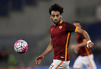 Calcio, Serie A: Roma vs Bologna. Roma, stadio Olimpico, 11 aprile 2016.<br /> Roma's Mohamed Salah in action during the Italian Serie A football match between Roma and Bologna at Rome's Olympic stadium, 11 April 2016.<br /> UPDATE IMAGES PRESS/Isabella Bonotto