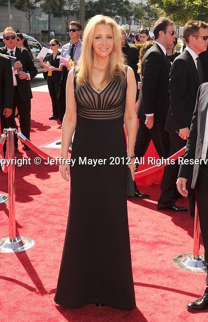 LOS ANGELES, CA - SEPTEMBER 15: Lisa Kudrow arrives at the 2012 Primetime Creative Arts Emmy Awards at Nokia Theatre L.A. Live on September 15, 2012 in Los Angeles, California.