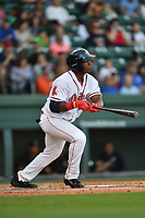 Designated hitter Jerry Downs (29) of the Greenville Drive in a game against the Asheville Tourists on Tuesday, May 2, 2017, at Fluor Field at the West End in Greenville, South Carolina. Asheville won, 7-1. (Tom Priddy/Four Seam Images)