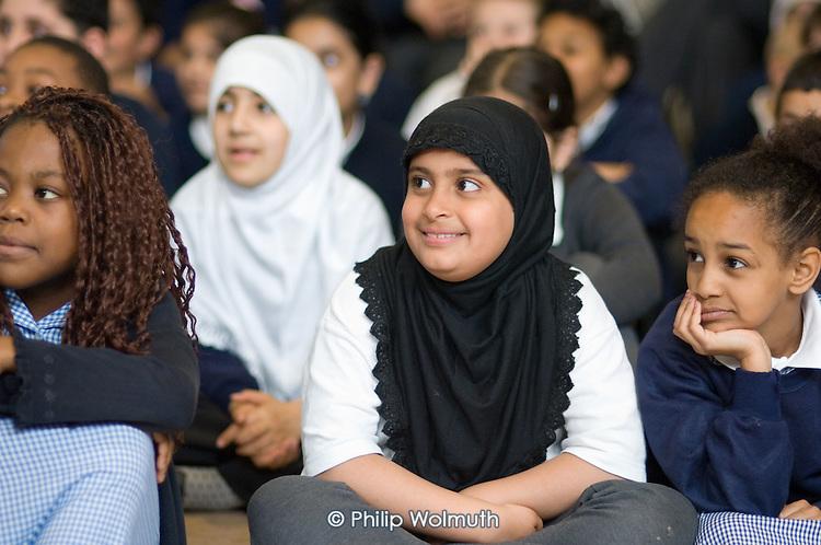 Morning assembly at Christ Church Bentinck  C of E Primary School, Marylebone. London